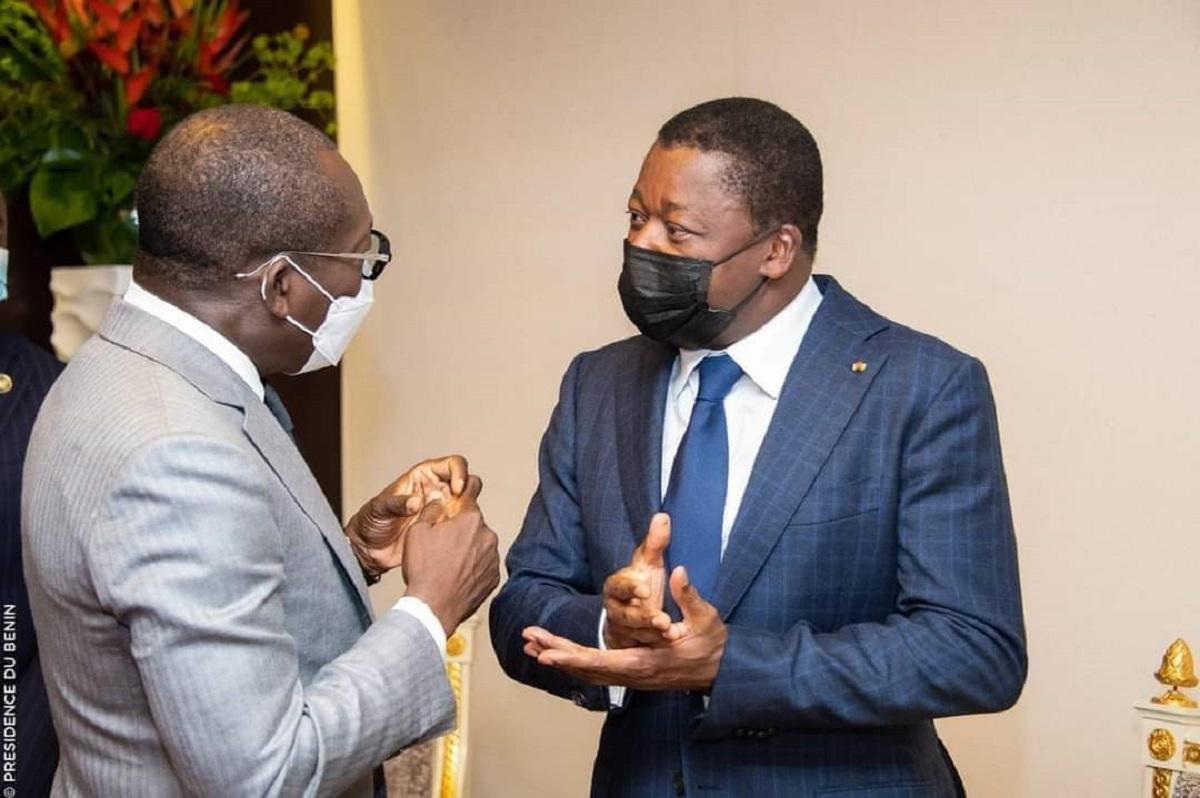 Patrice Talon et Faure Gnassingbé à Accra, le samedi 19 juin 2021, à l'occasion du 59è sommet de la CEDEAO