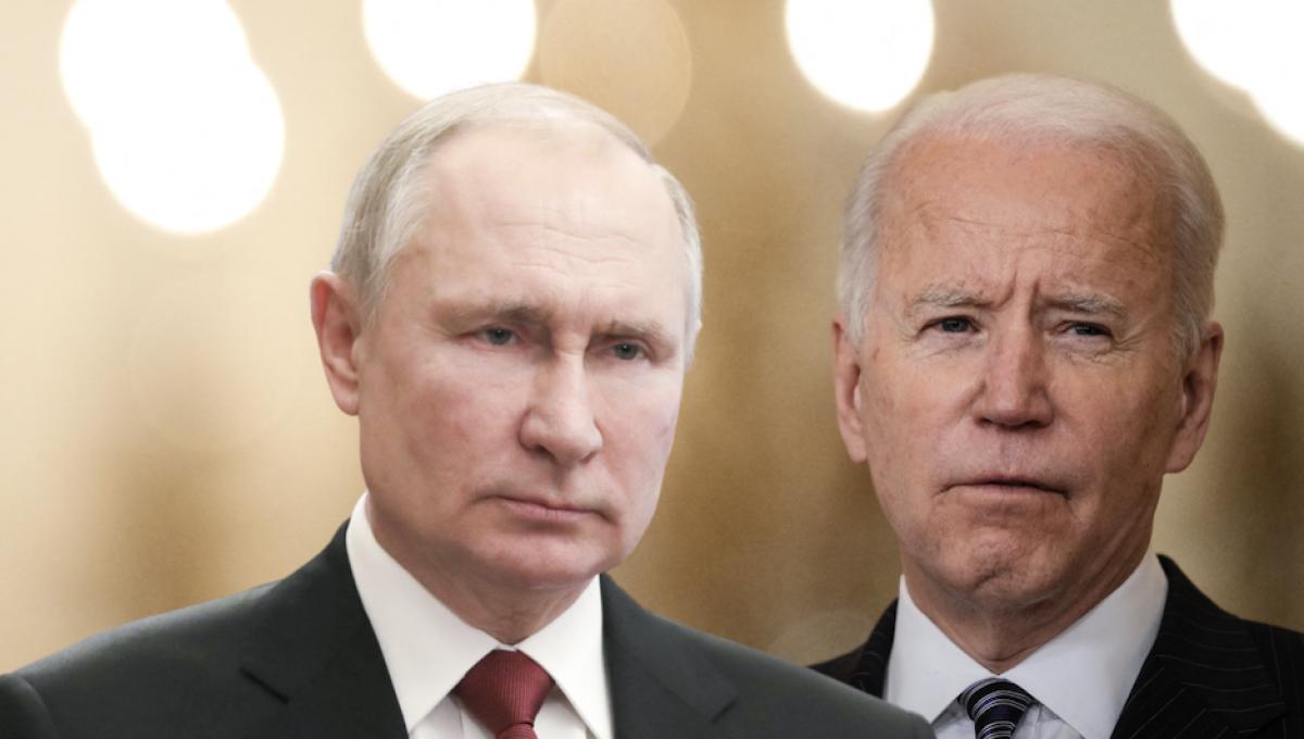 Vladimir Poutine: Mikhail Klimentyev / Sputnik / AFP – Joe Biden: Drew Angerer / Getty Images North America / AFP – Montage Slate.fr