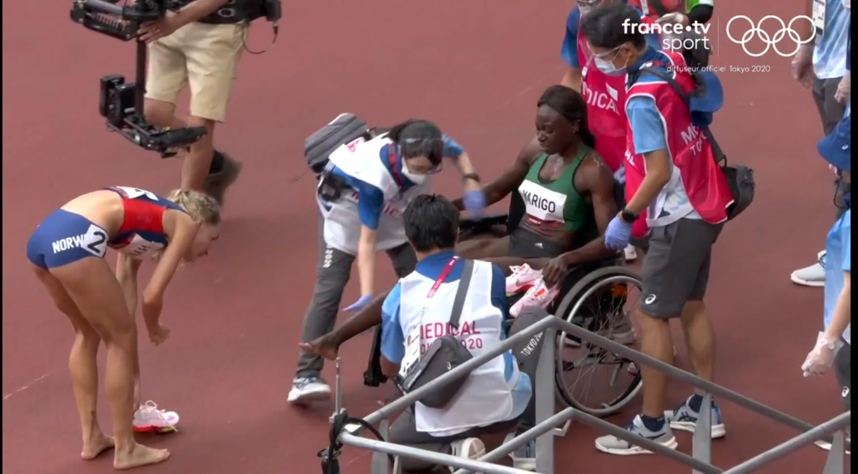 Noélie Yarigo a quitté la piste de Tokyo sur un fauteuil roulant. © Copie d'écran France.tv sport